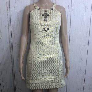 Antho Pniinp Gold Sleeveless Embellished Dress Sm
